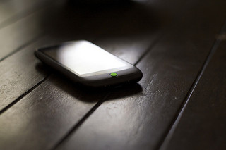 Mobile phone on table